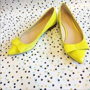 Banana Republic Yellow Pointed Bow Flats Size 8